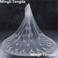 Sequins Lace Cathedral Veil 3 M Long Wedding Veil with Metal Comb Mingli Tengda Two Layer Widen Luxury Ivory Bridal Blusher Veil