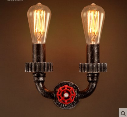 120W Style Loft Industrial Vintage Wall Lamp Fixtures With 2 Lights For Home Edison Wall Sconce Water Pipe Wall light great wall style building home with jim spear