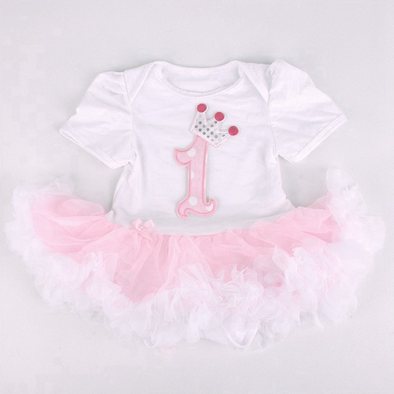 4bb4e12bef6 2019 1st Birthday Crown Applique Infant Party Dress Tutus Baby ...