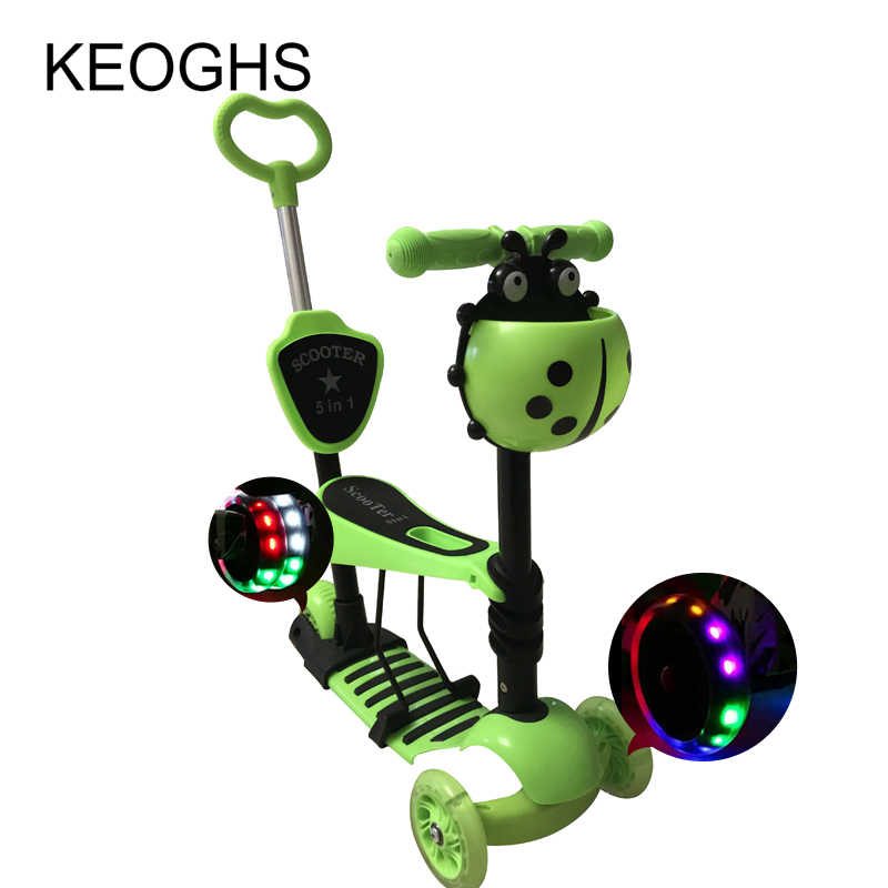 Image 2 - Children baby scooter kids 5in1 PU 3wheels Flashing Swing Car Lifting 2 15 Years Old Stroller Ride Bike Vehicle Outdoor Toys-in Kick Scooters,Foot Scooters from Sports & Entertainment