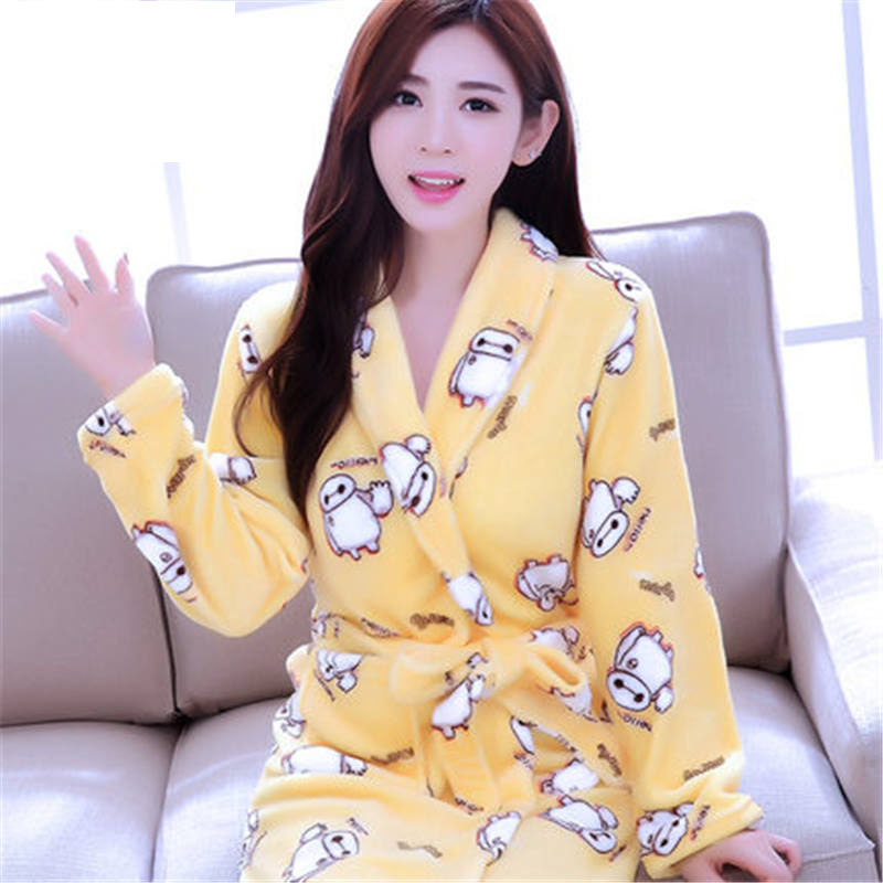2018 Winter Lavender Print Flannel Warm Pajamas Women Sexy Towel Robe Soft Coral Fleece Bathrobe Sleepwear Spa