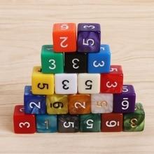 15 мм Непрозрачный покер, фишки, кости, шестисторонний точечный веселый кубик для настольной игры D&D ролевых игр, вечерние игральные кости, игровые кубики 20 шт