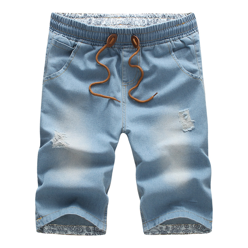 Fashion Casual Solid Blue Denim   Jeans   Shorts Joggers Elastic Waistband Drawstring Men Washed Hip Hop Short High Quality Hot Sale
