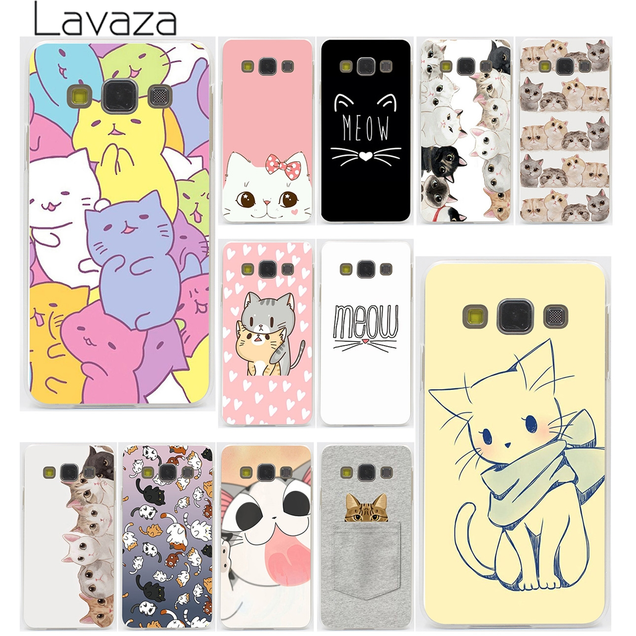 Cute  GINGER PIZZA bowknot cat kawaii Hard Case for Galaxy S3 S4 S5 & Mini S6 S7 Edge S6 S8 Edge Plus