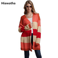 Hiawatha Loose Striped Rainbow Sweater Women Autumn Long Knitted Cardigan Casual Loose Sweaters E1953