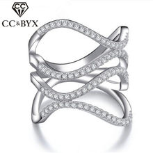 Punk Style Full Finger Rings For Women AAA Zircon Hollow Party Ring with Small Crystal Jewelry Anel Feminino Womens Gift CC143(China)