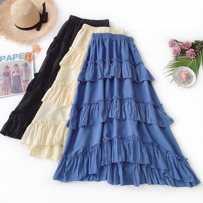 2020 Summer New Arrival Ruffles Irregular Skirt Temperament High Waist Layer Skirt Large Pendulum Woman Long Skirt Free Shipping