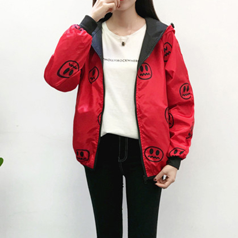 2019 New Spring Women Bomber Basic Jacket Pocket Zipper Hooded Two Side Wear Cartoon letter Print Outwear Loose Coat LU853