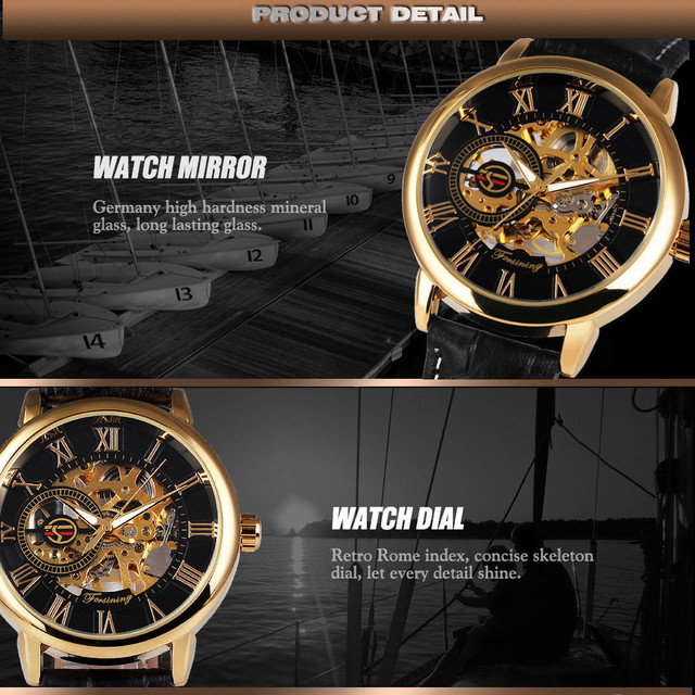 Luxury Mechanical 3D Hollow Skeleton Dial Sport Watches 4