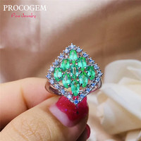 Natural Emerald Rings for Women Anniversary Party Gifts More Genuine gemstons CZ Fine jewelry Custom 925 Sterling Silver #644
