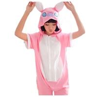 Adult Blue Pink Stitch Onesie Cosplay Costume Adult Lilo Stitch Pajamas Cotton Short Sleeve Sleepwear Hoodie