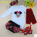 Feikebella spring autumn baby clothes set infant baby girl gift long-sleeve Bodysuit+shorts+headband+legwarmer +shoes 5pcs