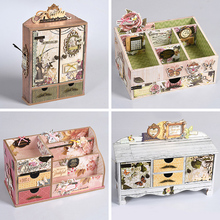 Vintage Mini Diy Storage Box Scrapbooking Jewelry Box Drawer Storage Mini  Trinket Organiser Office(China