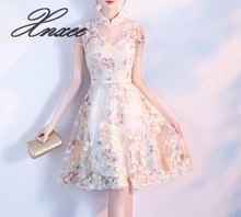 2019 new short summer girl Chinese style young knee-length dress