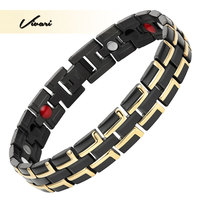 Vivari 2017 Men 4in1 Stainless Bracelet Magnets Negative Ions Germanium Far Infra Red Black Gold Fashion