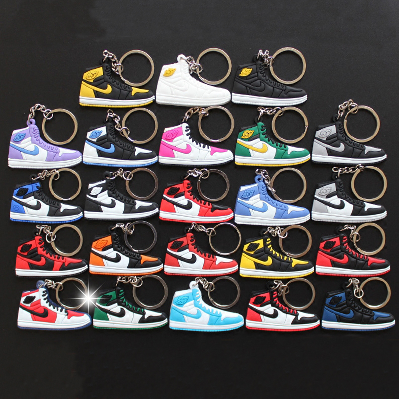 23Pcs/Lots Kids Toys Jordan 1 Key chain for Woman and Men Pendant Gift Fashion Silicone Air AJ 1Key Rings Sneaker Keychain how to train your dragon toys figures keychain new fashion cute toothless necklace pendant keyring for kids toys
