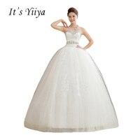 É Yiiya Branco Sequins Strapless Vestidos de Noiva Barato Plus Size Até O Chão Vestidos de Noiva Princesa Vestidos De Novia HS107