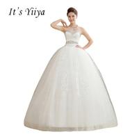 It's Yiiya White Sequins Strapless Wedding Dresses Cheap Plus size Floor Length Princess Bride Gowns Vestidos De Novia HS107
