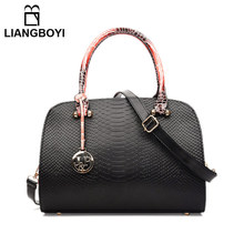 LIANGBOYI Brand Serpentine Leather Handbag Women Tote High-end Designer Shoulder Crossbody Bags Female Obag Desigues Sac A Main