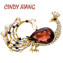 CINDY XIANG Crystal Large Peacock Brooches For Women Fashion Autumn Style Animal Pin Wedding Coat Brooch Vintage Accessories cindy xiang purple color crystal flower large brooches for women autumn coat brooch pin elegant beautiful fashion jewelry new