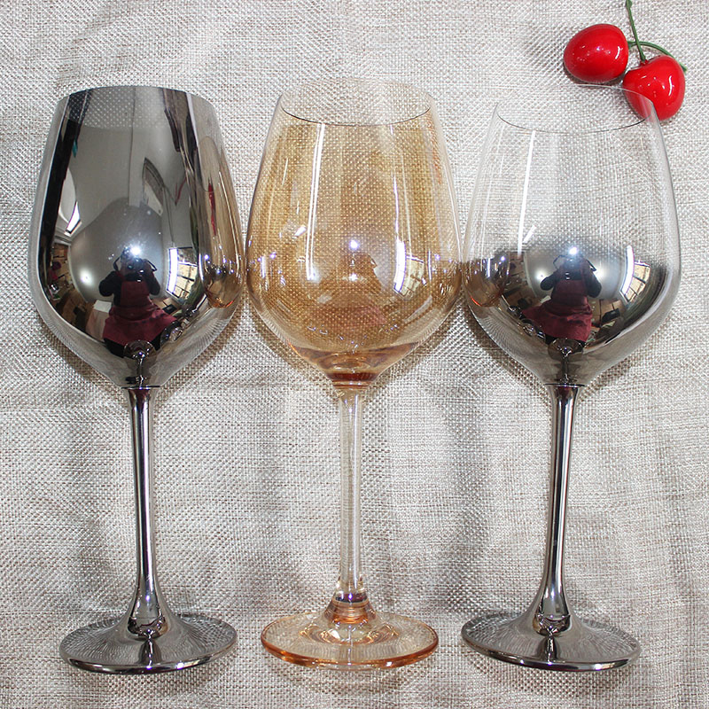 Europe  Lead-free crystal glass cup Electroplating wine glasses Silver/gold Goblets champagne home wedding drinkware