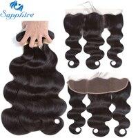Sapphire Human Hair Peruvian Body Wave Human Hair Bundles With Lace Frontal Closure 100 Human