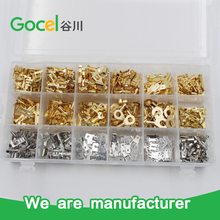 Wire Terminals Crimp Connector gold and silver color brass ring female male flag terminal kits