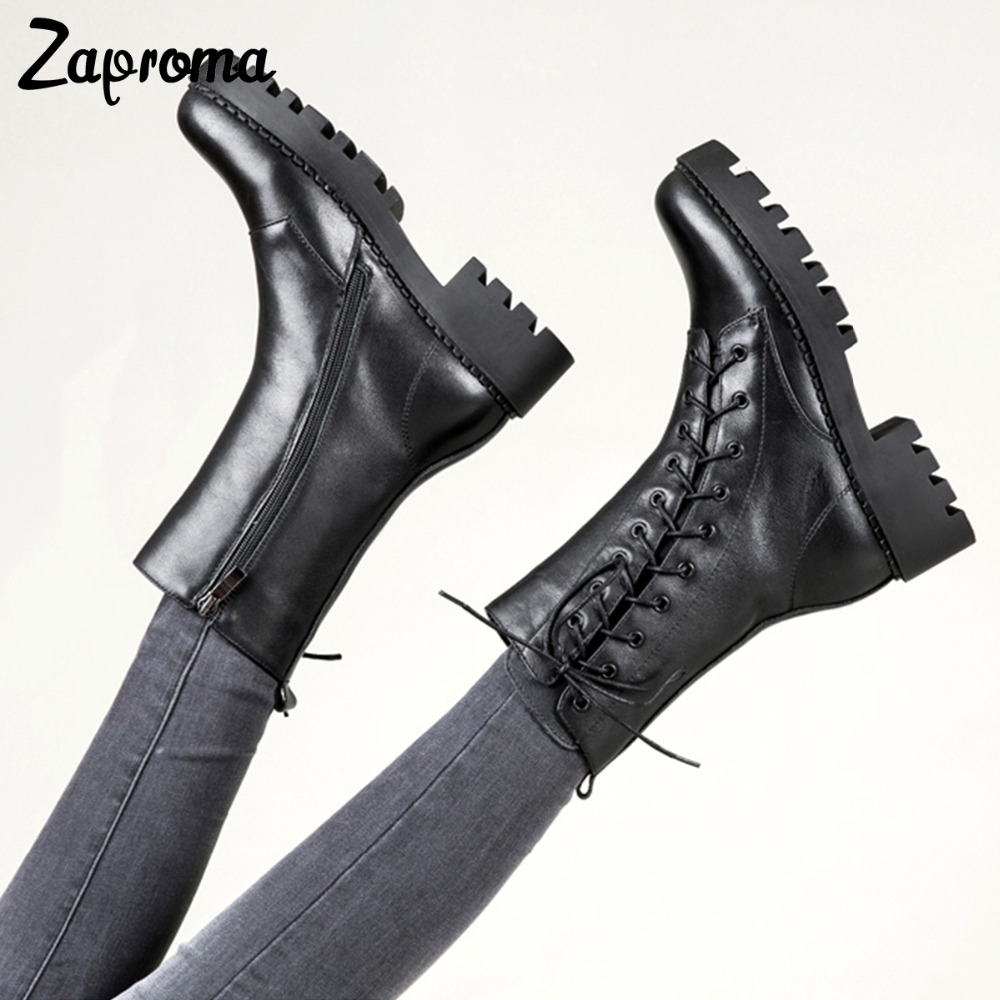 New Fashion Black Mid-calf Boots Square Heels Round Toe Black Lace Up Martin Boots Cow Leather Woman Shoes With Warm Short Plush new fashion black pu leather lace up martin boot woman round toe riding boots designer chain motorcycle short booty