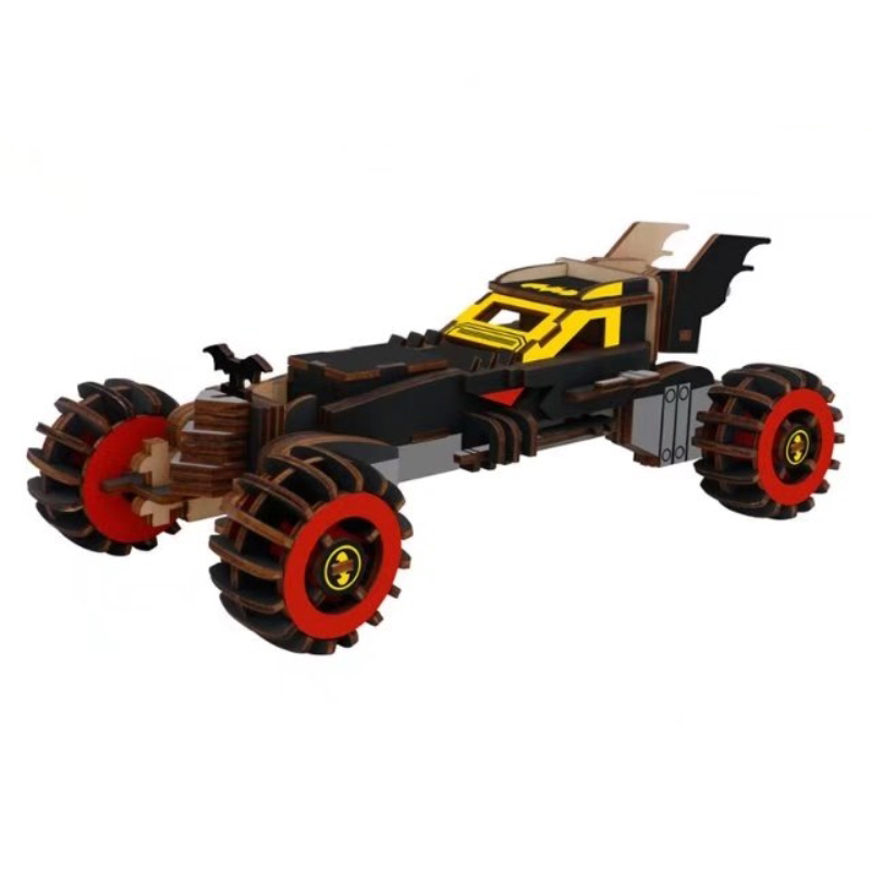 Candice Guo! Wooden Toy 3D Puzzle Hand Work DIY Assemble Kit Black Bat Mobile Car Model Birthday Christmas Gift 1pc