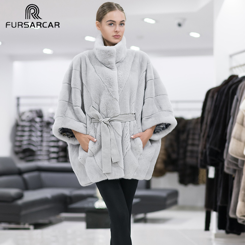 FURSARCAR 2019 New Batwing Sleeve Natural Real Mink Fur Women High Street Regular Long Genuine Mink Fur Female Coat