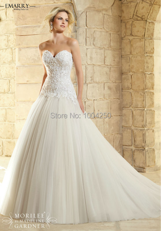 RW006 Romantic Sweetheart A Line Tulle Wedding Dress with Detachable Jacket  Appliques Empire Long Bridal Gown f9a9b3ed6d3f