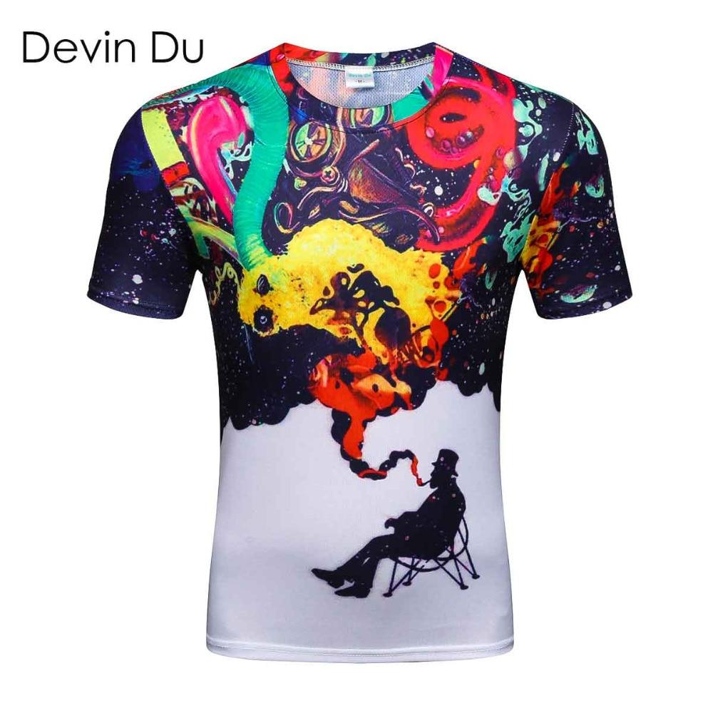 Devin Du brand Fashion 2017 Mens 3D Colorful Smoke Smoking Printed   t     shirts   Homme Tees Tops High Quality wholesale fashion