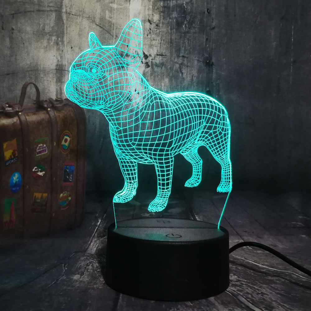 Amroe 3D LED Desk Lamp French Bulldog Cute Puppy RGB Night Light USB Desk Lamp Remote Control Home Decro Christmas Gift For Kids