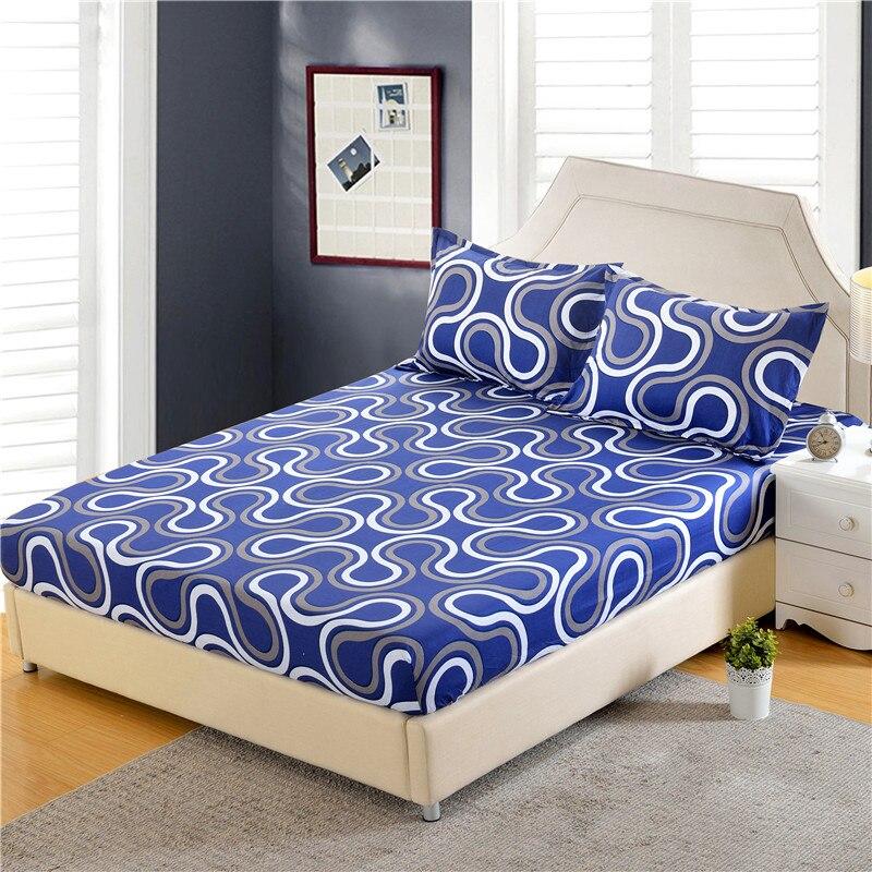 1 unid 100% poliéster sábana Funda de colchón de impresión de ropa de cama las cuatro esquinas con banda elástica de la hoja de cama de 160 cm * 200 cm