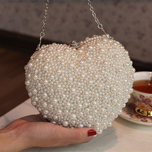 Herzförmige Kupplung Frauen Handtasche Perlen 2017 Neue Handtasche Kette Abendgesellschaft Tasche Brauthandtasche