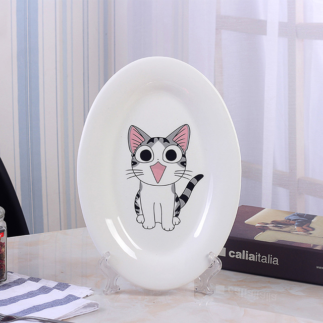 High Quality Cute Cartoon Cat Printing Oval Shape Dinner Plate Dish Tableware Ceramic Dish Dishes & High Quality Cute Cartoon Cat Printing Oval Shape Dinner Plate Dish ...