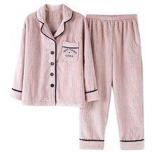 8d58dc573316 Caldo Inverno Pajamas Set Sexy Delle Donne Pigiami Degli Indumenti Da Notte  Per Le Donne Cardigan Flanella A Maniche Lunghe Indu.