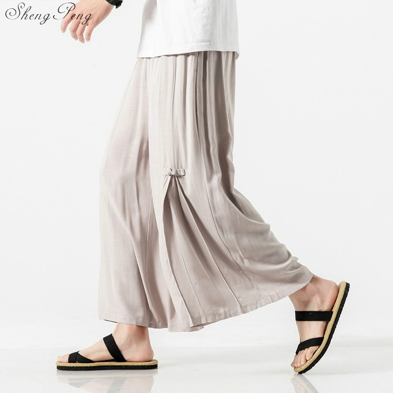 Chinese traditional kung fu wushu pants clothing for men male linen oriental wing chun wide leg pants trousers outfits G195