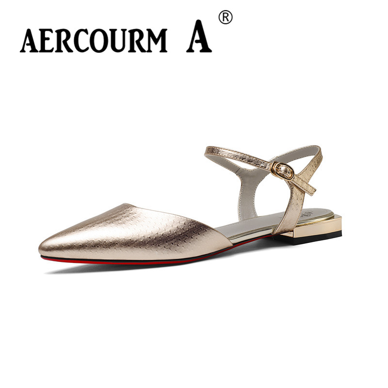 Aercourm A Women Flat Genuine Leather Sandals Low Heel Sandals Lady Buckle Strap Summer  ...