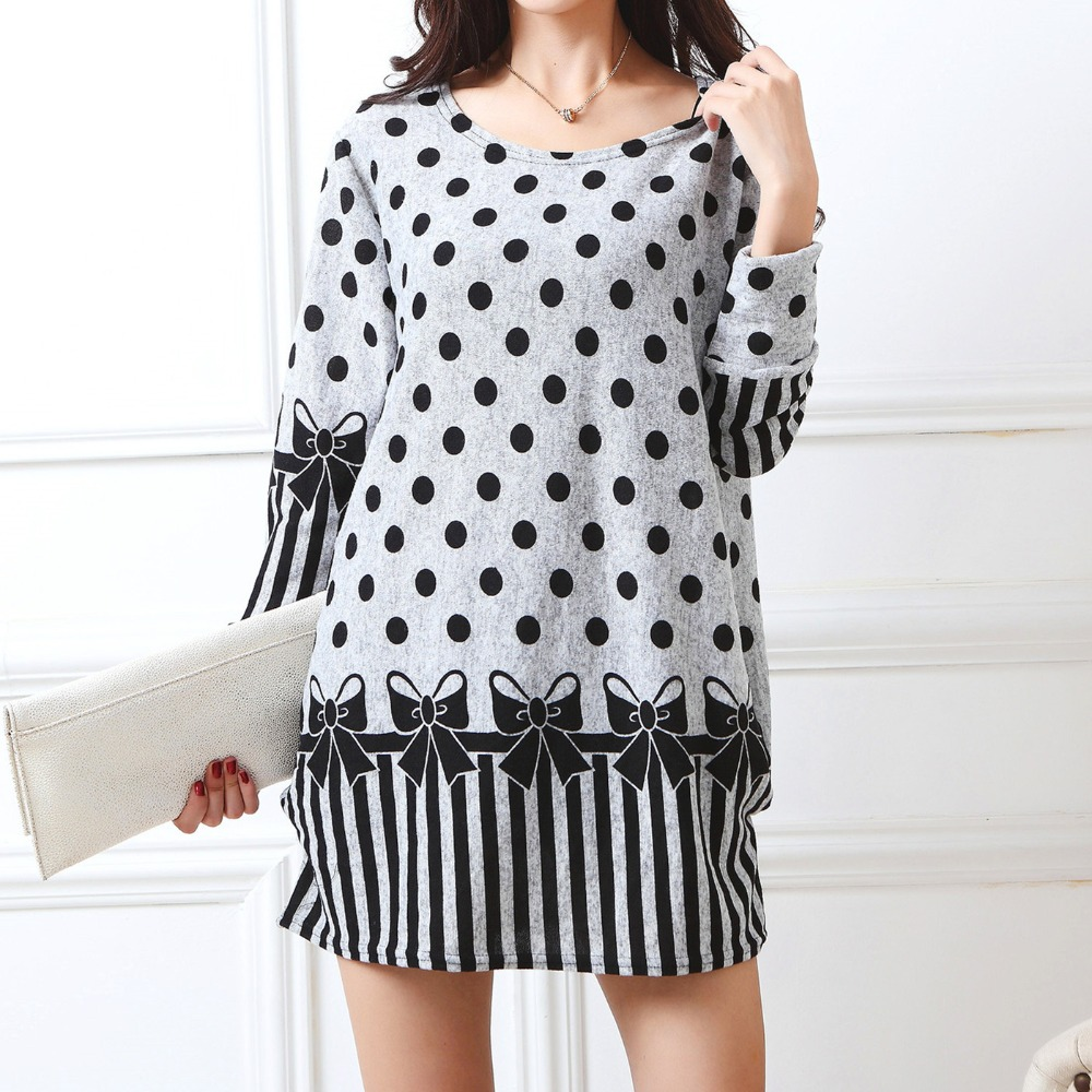 2019 New Long-sleeve O-neck Cashmere Sweater Large Size Casual Print Dress Thin Fashion Pullovers Tops Cotton And Polyester