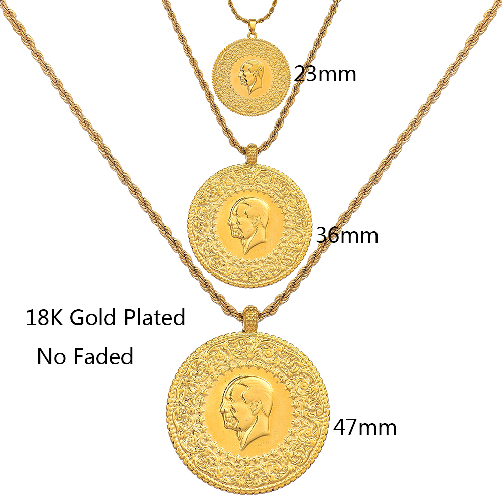Image 2 - Three Size Muslim Islam Turkey Ataturk Pendant Allah Arab  Necklaces for Women Gold Color Turkish Coins Jewelry Ethnic  GiftsPendant Necklaces