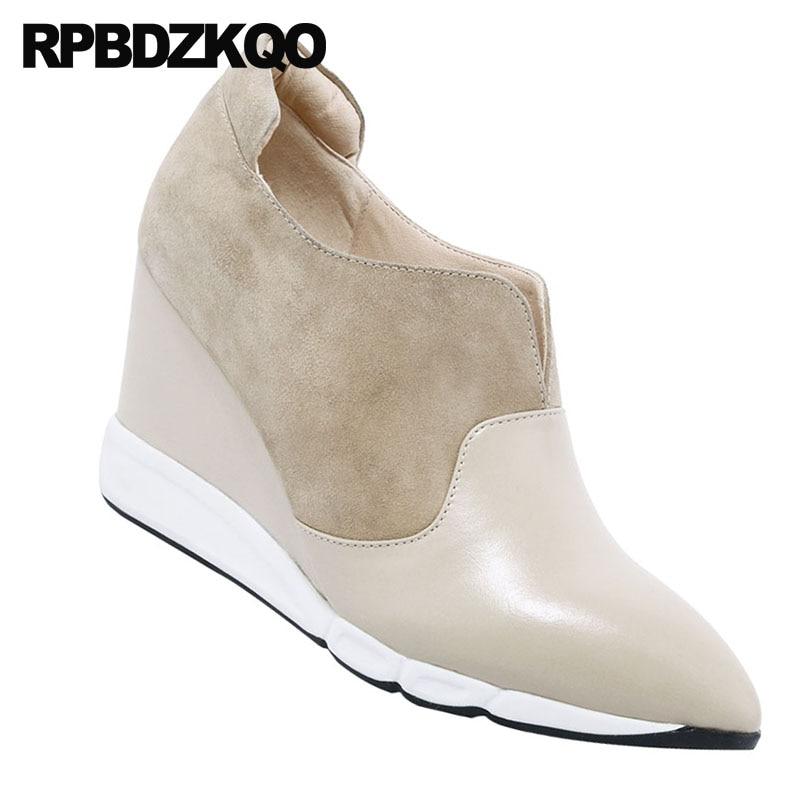 Dedo do pé apontado 8cm mulheres nude tamanho 4 34 2018 camurça escritório cunha sapatos senhoras bombas de couro genuíno tornozelo botas de salto médio alta - 5
