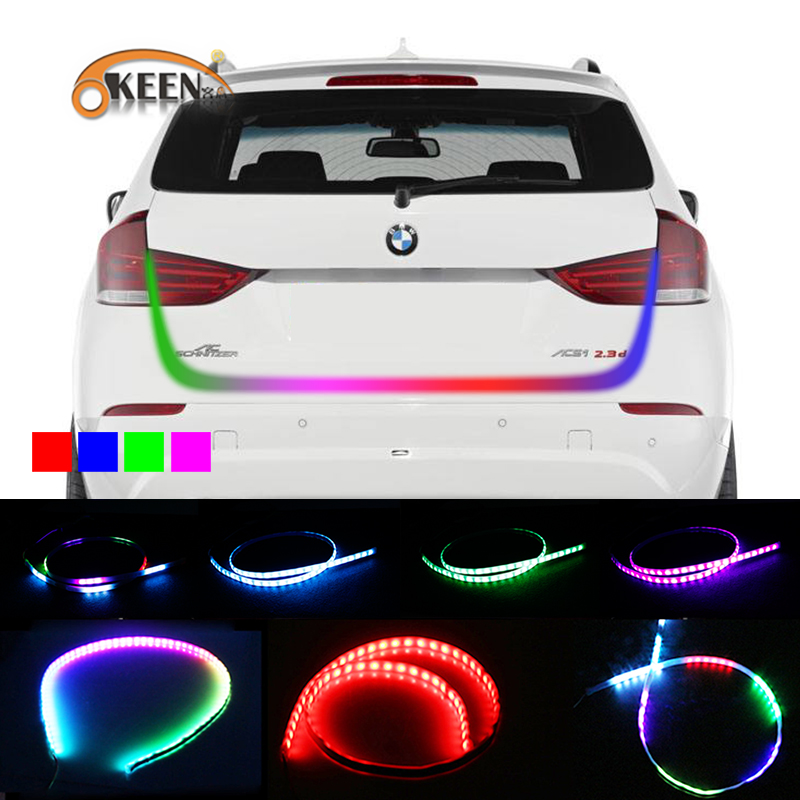 OKEEN Car Styling LED trunk strip Light RGB Undercarriage Floating Led Dynamic Streamer Turn Signal Luggage Compartment Lights okeen 12v 1 2m red blue led strip lighting car tailgate strip rear trunk tail light dynamic streamer brake turn signal reverse