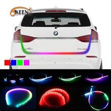 Okeen стайлинга автомобилей RGB ходовой плавающий светодиодной динамической стример поворотов хвост LED Аварийные огни Подсветка багажника