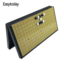 купить Easytoday Plastic Go Game Folding Chess Board Magnetic Go Game Chess Pieces Gobang Entertainment Games Set Boutique Gift по цене 1004.32 рублей