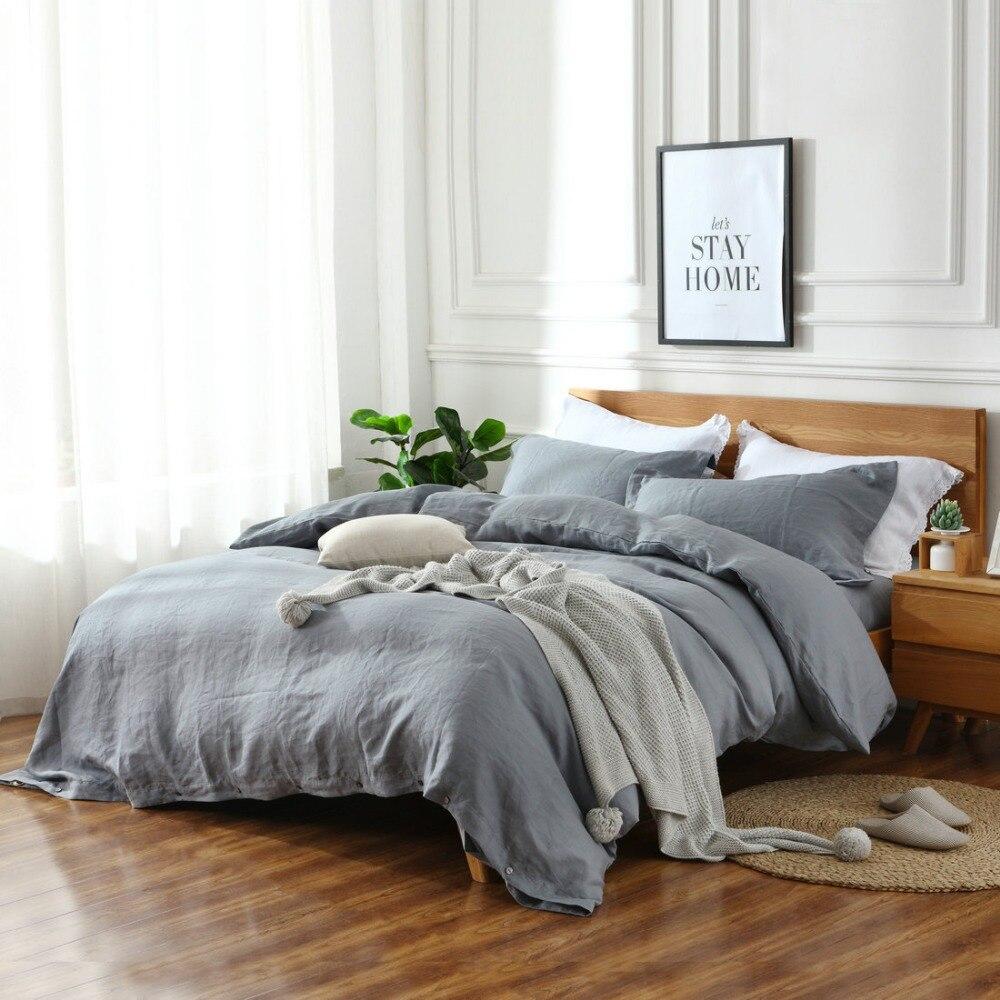 4 Piece set Natural enzyme washing 100 Pure Linen bedding Sets Linen Duvet Cover Linen sheets