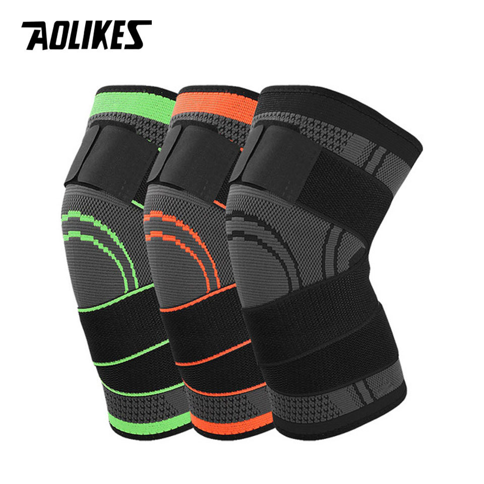 AOLIKES 1PCS HOT 3D Pressurized Fitness Running Cycling Bandage Knee Support Braces Elastic Nylon Sports Compression Pad 1pcs fitness running cycling knee support braces elastic nylon sport compression volleyball basketball knee pad sleeve for men