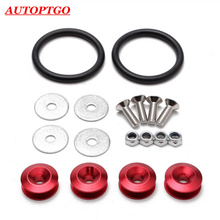4 x Red Universal Auto Car Fender Washers Bumper Quick Release Fastener For All Cars Bumpers Trunk Latch Lid JDM Quik Released