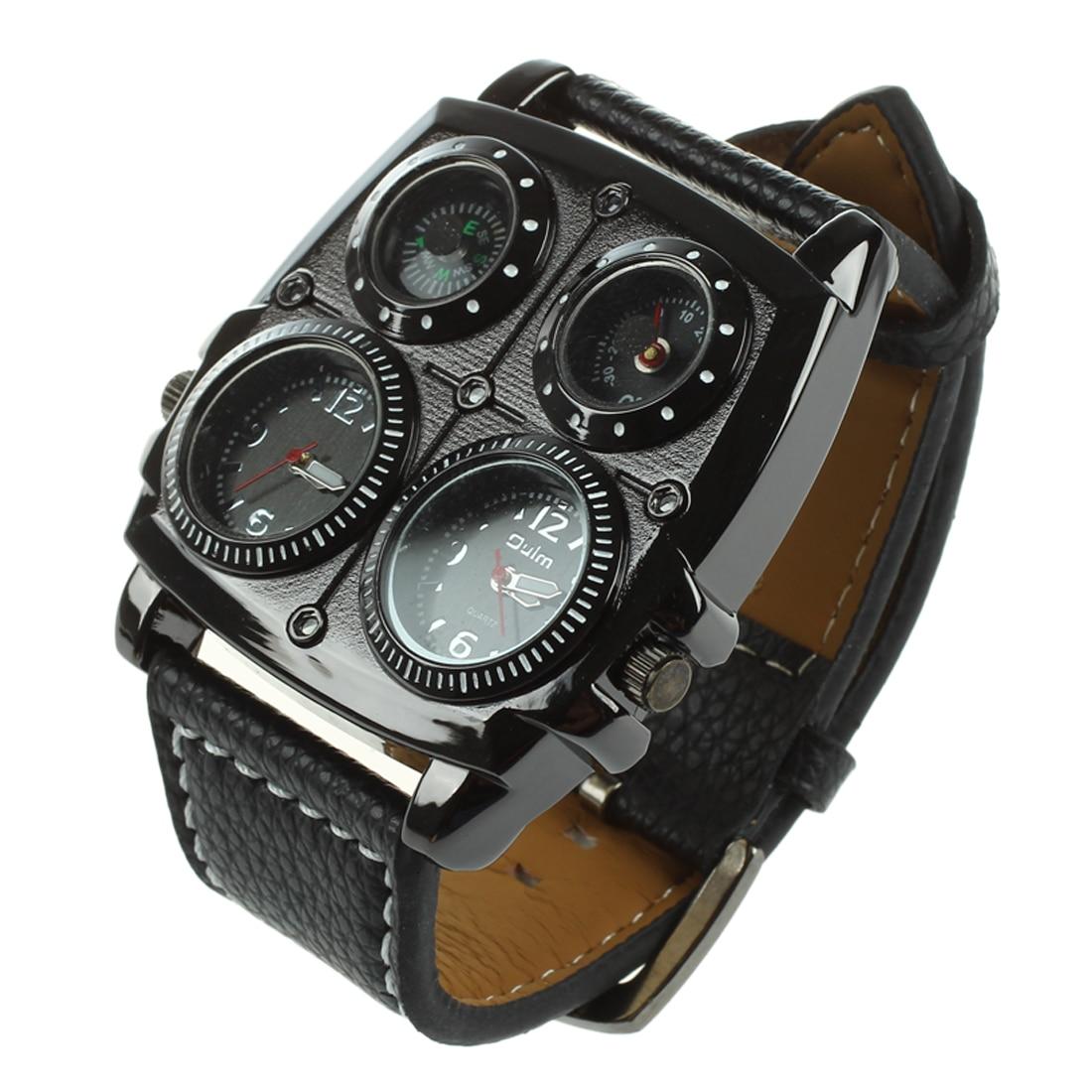 Kompass Oulm Männer Große Uhr Dual Zeit Zonen Thermometer-große 5 Cm Multi-funktion Zifferblatt-lange 16-22 Cm Schwarz Gen Mit Einem LangjäHrigen Ruf