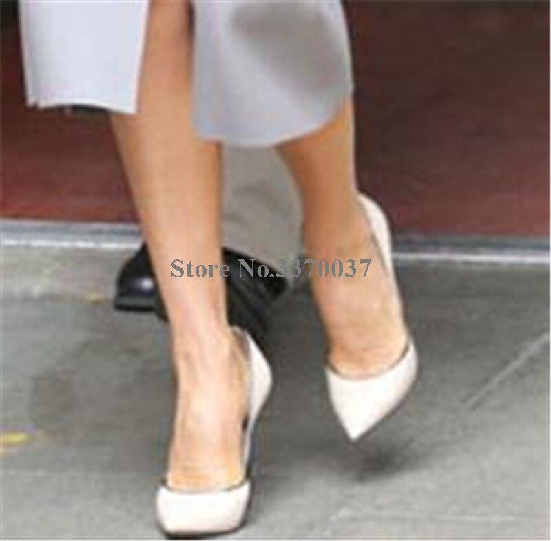 Marque Design femmes bout pointu métal talon aiguille pompes sans lacet blanc bleu rose talons hauts chaussures habillées chaussures de mariage - 2